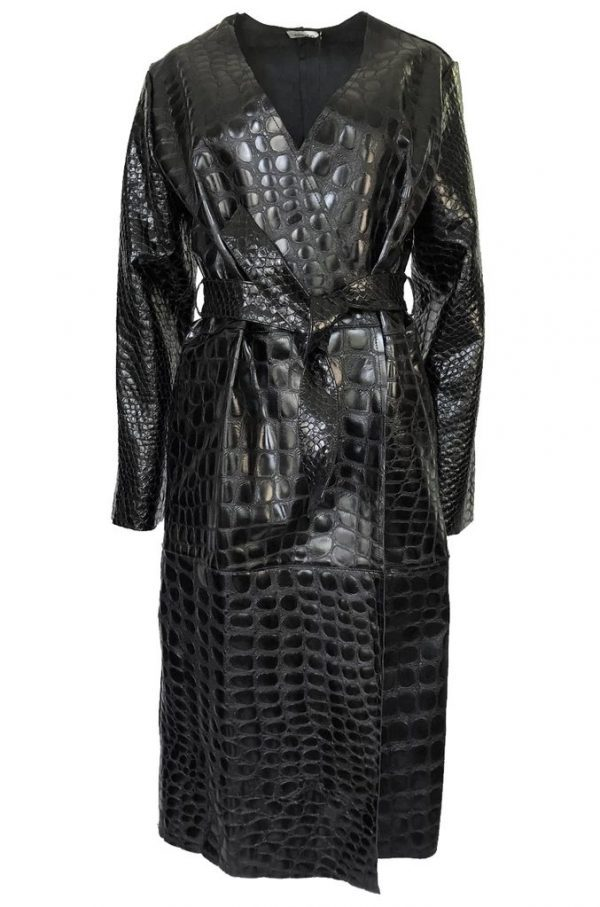 The Attico 'Maria' Crocodile Embossed Glossed Leather Wrap Coat front
