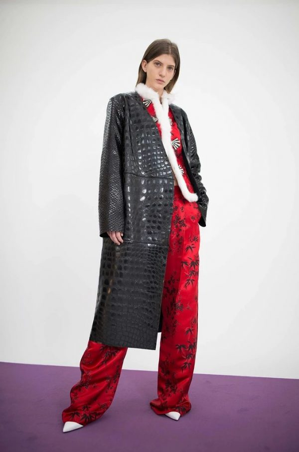 The Attico 'Maria' Crocodile Embossed Glossed Leather Wrap Coat front with