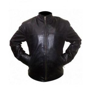 The Departed Billy (Leonardo DiCaprio) Black Leather Jacket front