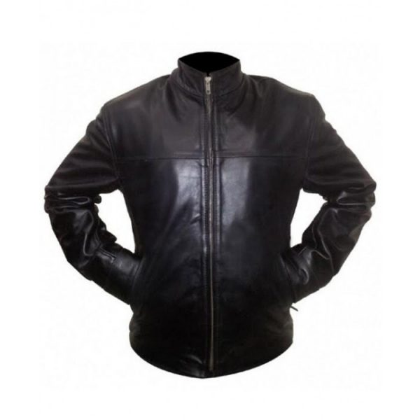 The Departed Billy (Leonardo DiCaprio) Black Leather Jacket front