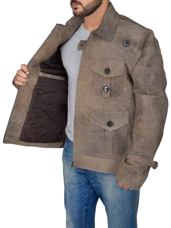 The Expendables 2 Jason Statham DisTressed Jacket side open