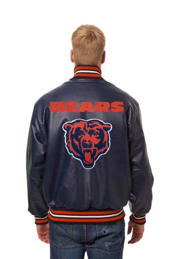 Tiger Logo C Chicago Bears Full Leather Jacket