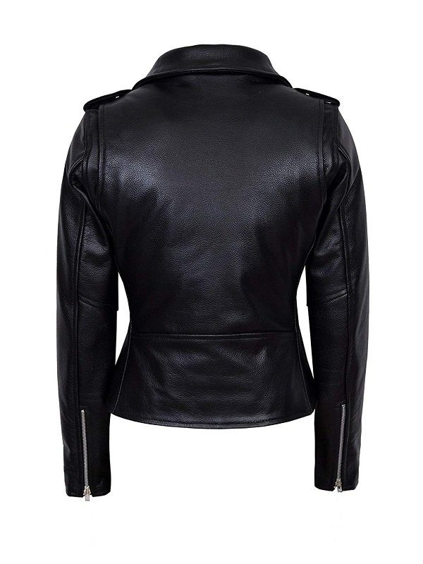 WWE Wrestler Maryse Mizanin Biker Leather Jacket back
