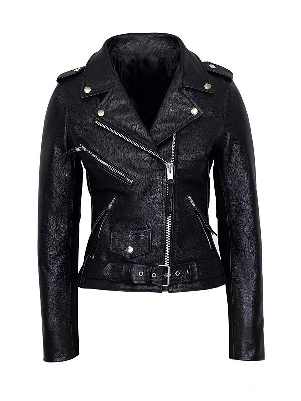 WWE Wrestler Maryse Mizanin Biker Leather Jacket front