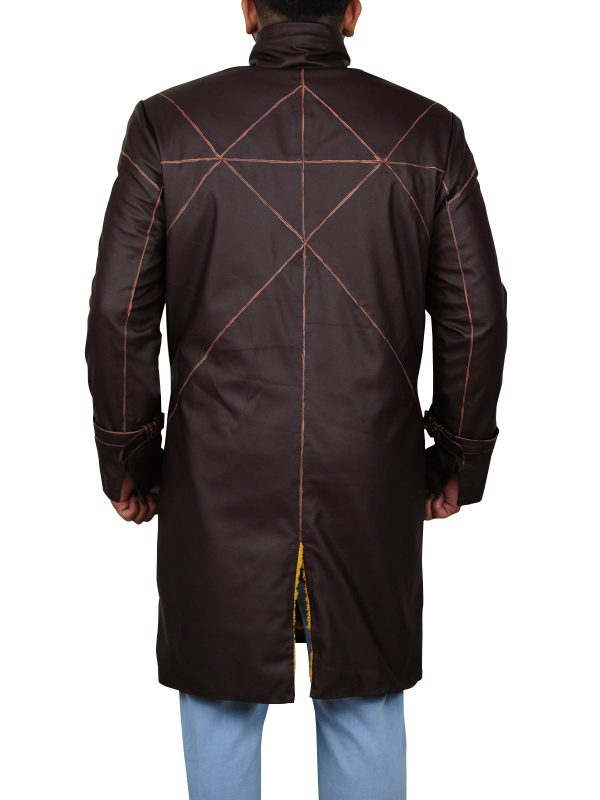 Watch Dogs Aiden Pearce Brown Leather Coat back
