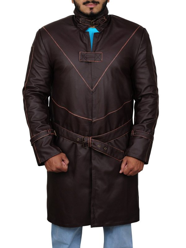 Watch Dogs Aiden Pearce Brown Leather Coat front