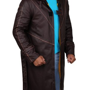 Watch Dogs Aiden Pearce Brown Leather Coat side