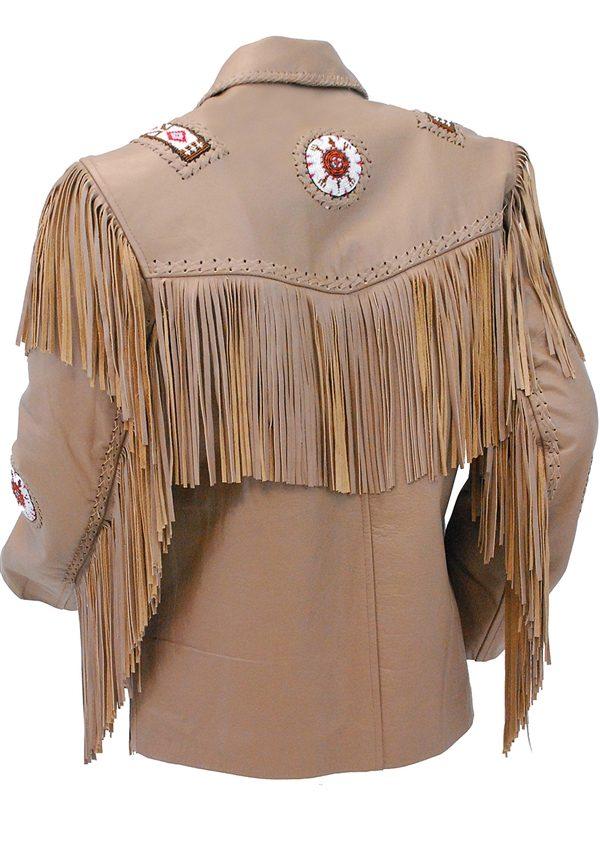 Western Brown Leather Jacket WFringe & Bone Beading back