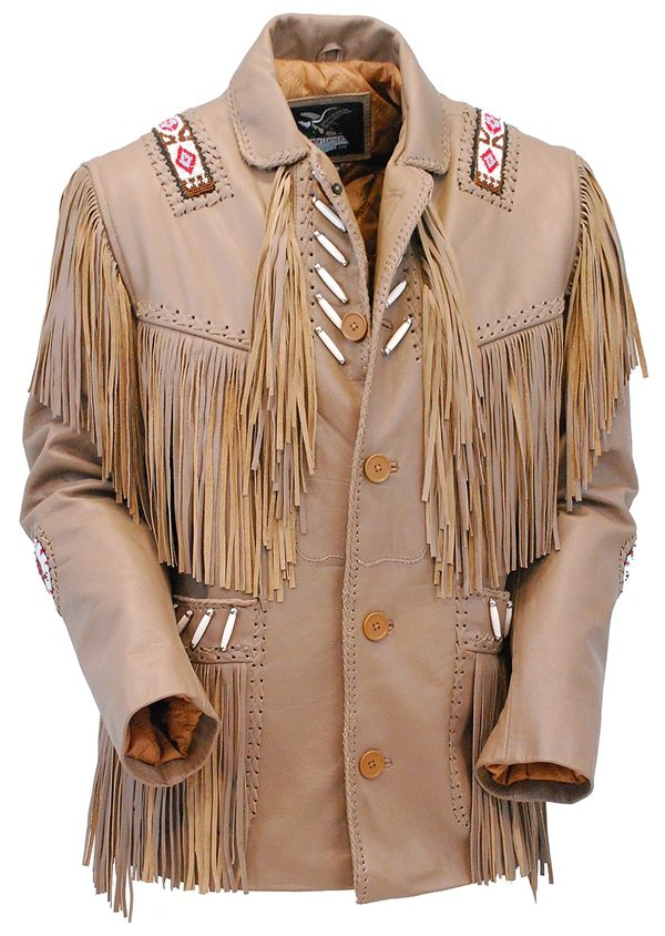 Western Brown Leather Jacket WFringe & Bone Beading front