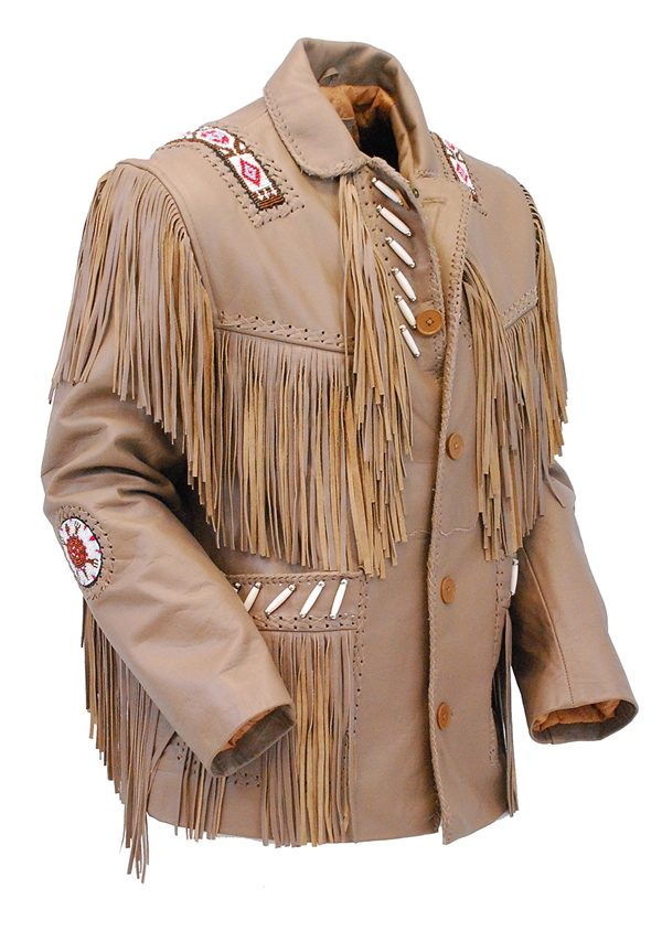 Western Brown Leather Jacket WFringe & Bone Beading side