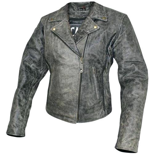 Women's Distressed Leather Motorcycle Jacket