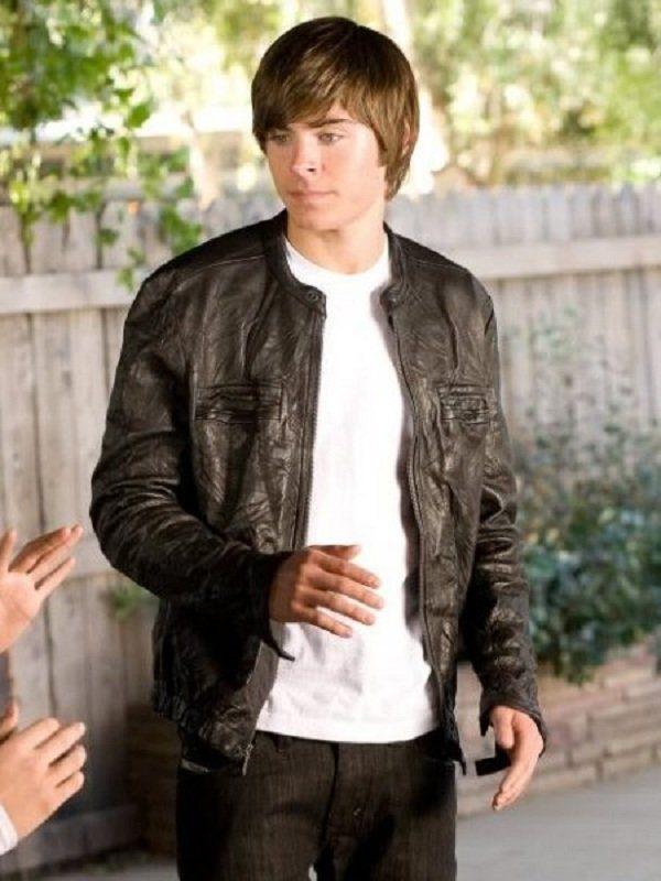 Zac Efron 17 Again Black Leather Jacket c