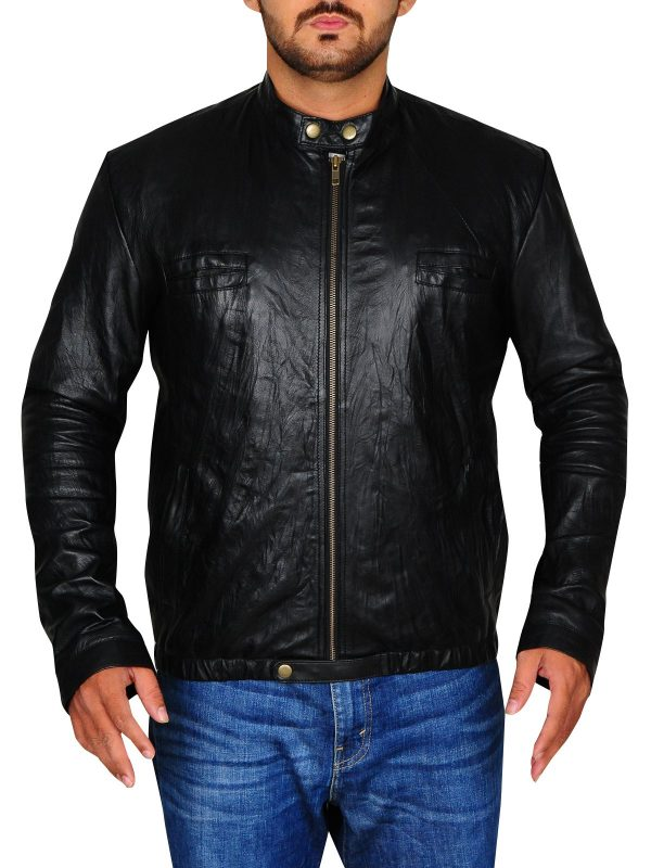 Zac Efron 17 Again Black Leather Jacket front