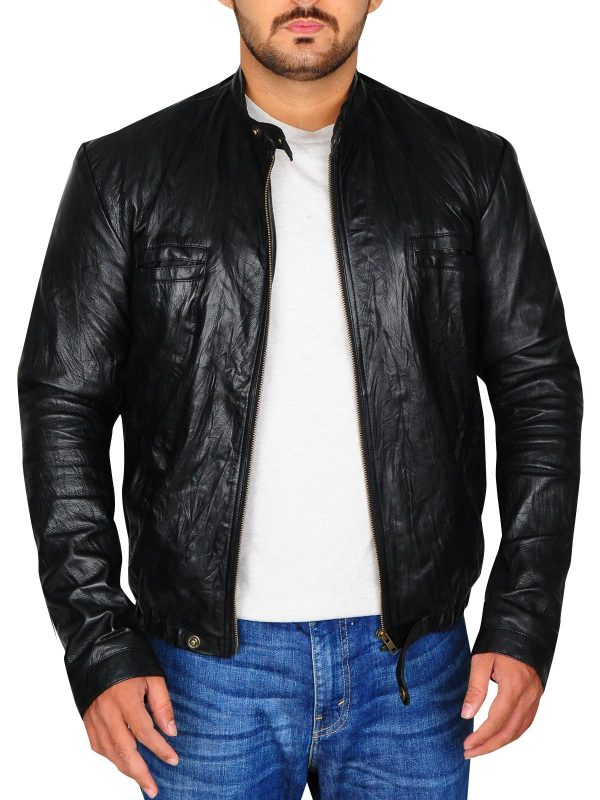 Zac Efron 17 Again Black Leather Jacket open
