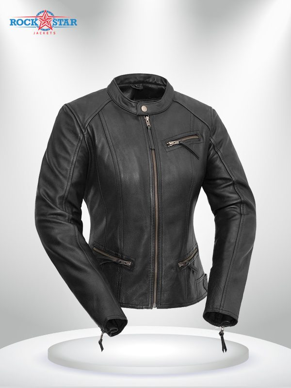 Fashionista Rockstar Women's Round Collar Motorcycle Leather Jacket front