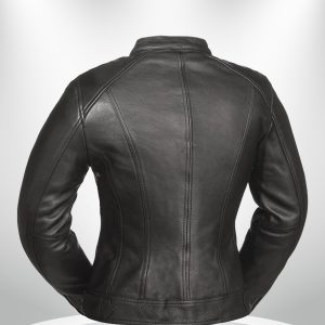 Fashionista Rockstar Women's Round Collar Motorcycle Leather Jacket