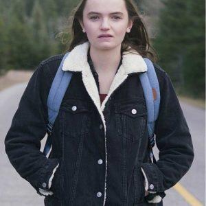 Abigail Lawrie Tin Star Shearling Collar Black Jacket