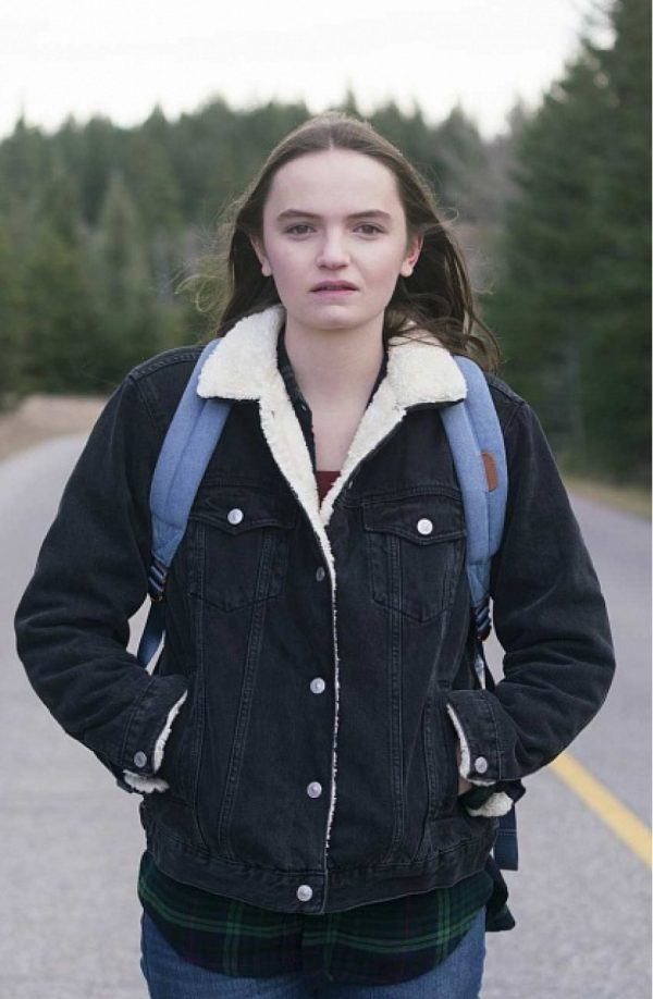 Abigail Lawrie Tin Star Shearling Collar Black Jacket