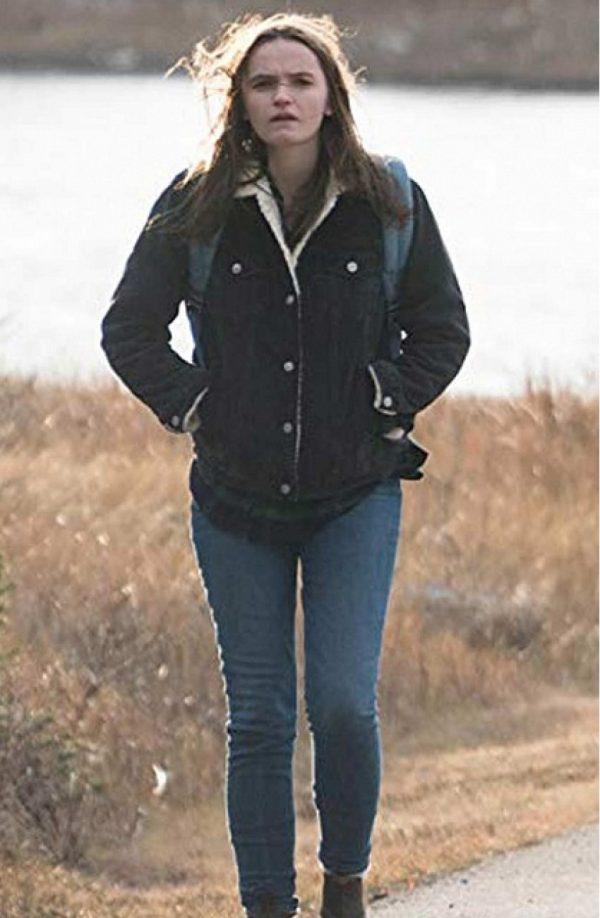 Abigail Lawrie Tin Star Shearling Collar Black Jacket f