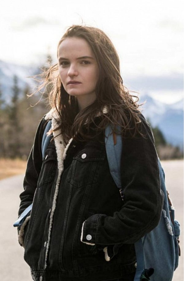 Abigail Lawrie Tin Star Shearling Collar Black Jacket s