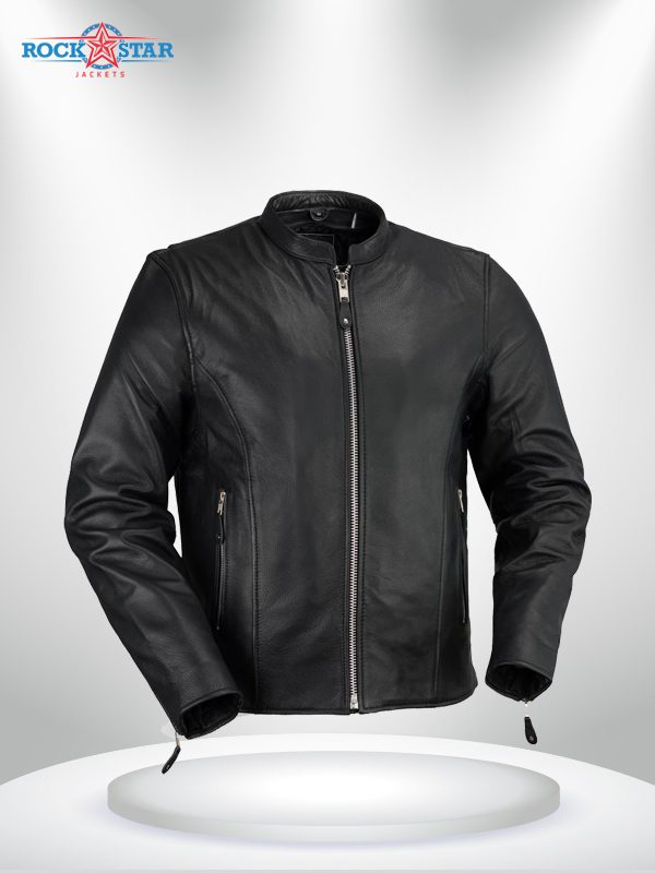 Ace Clean Cafe Style Rockstar Men's Black Leather Jacket