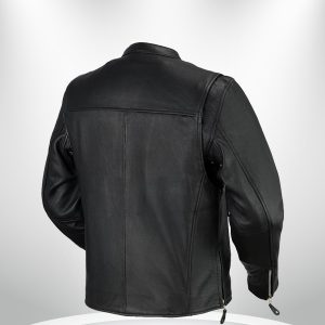 Ace Clean Cafe Style Rockstar Men's Black Leather Jacket back