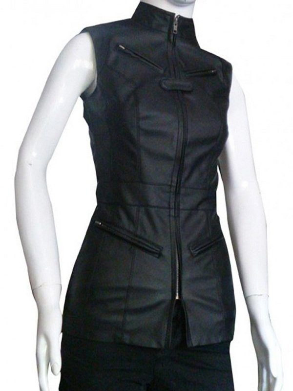 Agents Of Shield Riley Go Black Leather Vest side