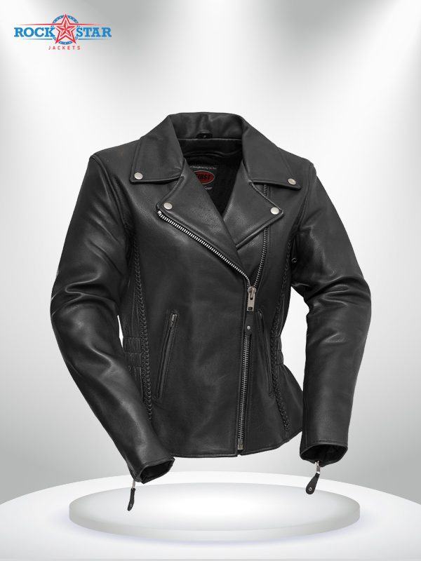 Allure Rockstar Women's Elasticized Waist Lapel Collar Motorcycle Jacket
