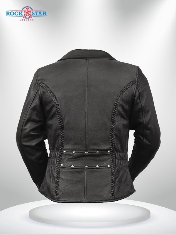Allure Rockstar Women's Elasticized Waist Lapel Collar Motorcycle Jacke back