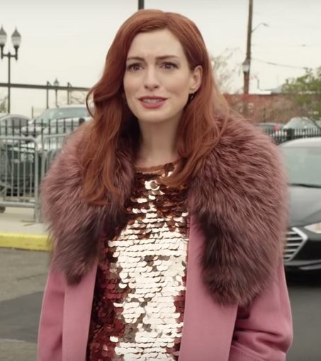 Anne Hathaway Faux Fur Collar Pink Coat front