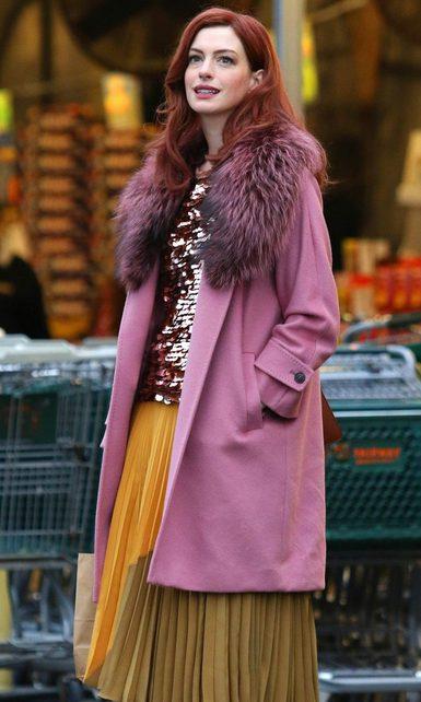 Anne Hathaway Faux Fur Collar Pink Coat full