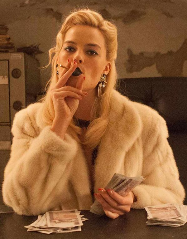 Annie Terminal Margot Robbie Fur Faux White Coat front