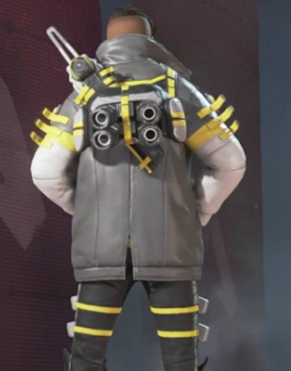 Apex Legends Crypto Yellow & White Leather Jacket back