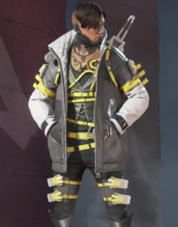 Apex Legends Crypto Yellow & White Leather Jacket front