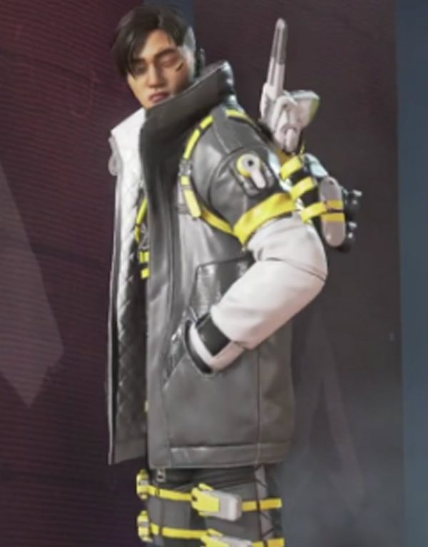 Apex Legends Crypto Yellow & White Leather Jacket side