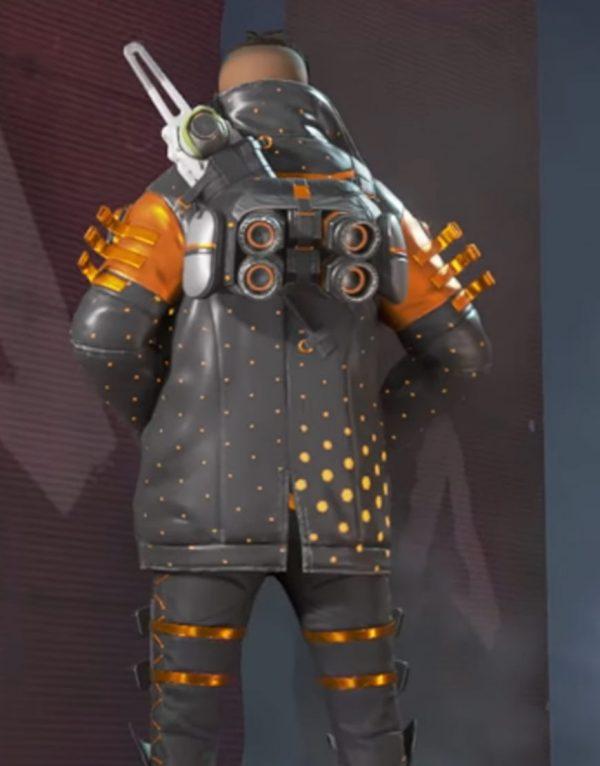 Apex Legends Heat Sync Black & Orange Leather Jacket back