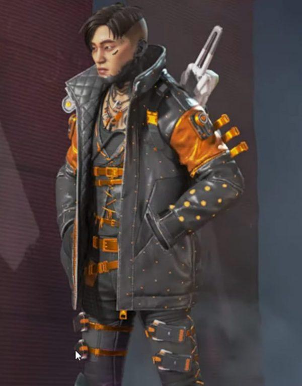 Apex Legends Heat Sync Black & Orange Leather Jacket front