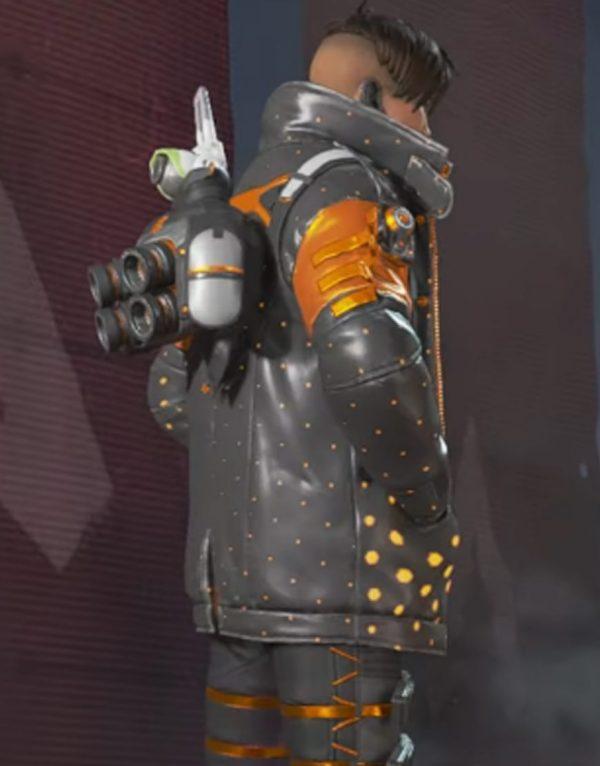 Apex Legends Heat Sync Black & Orange Leather Jacket side