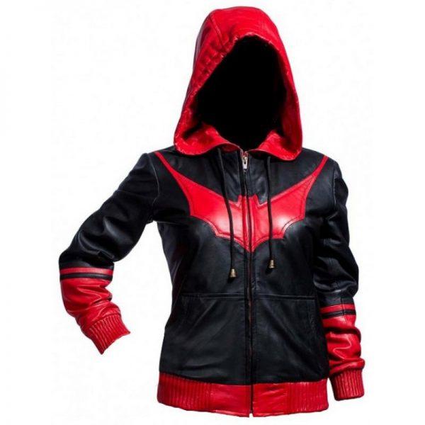 Batwoman Ruby Rose Black & Red Bomber Hoodie Jacket f