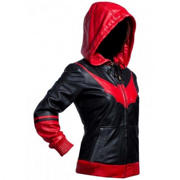 Batwoman Ruby Rose Black & Red Bomber Hoodie Jacket s