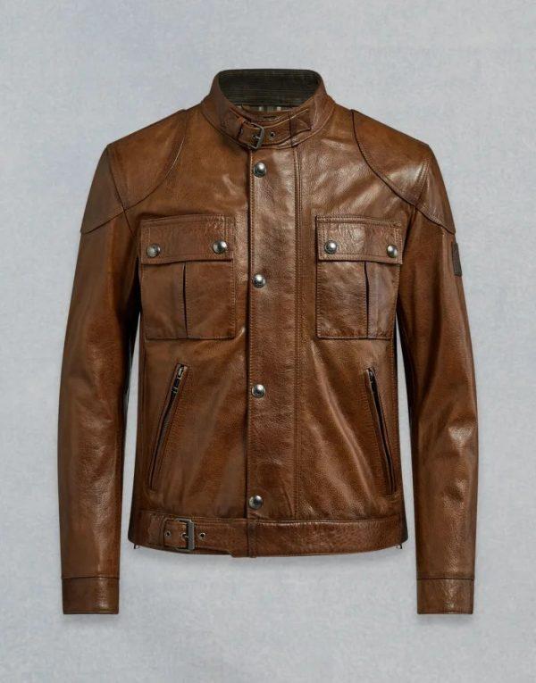 Belstaff Gangster 2.0 Brown Round Collar Leather Jacket
