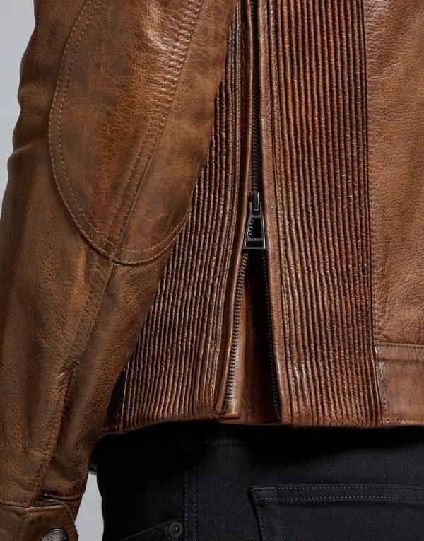 Belstaff Gangster 2.0 Brown Round Collar Leather Jacket h