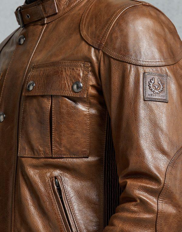 Belstaff Gangster 2.0 Brown Round Collar Leather Jacket side