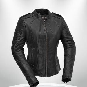 Biker Rockstar Women's Quilted Sleeve Black Leather Jacke