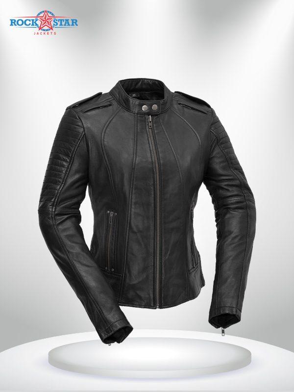 Biker Rockstar Women's Quilted Sleeve Black Leather Jacke