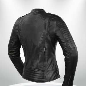 Biker Rockstar Women's Quilted Sleeve Black Leather Jacke back