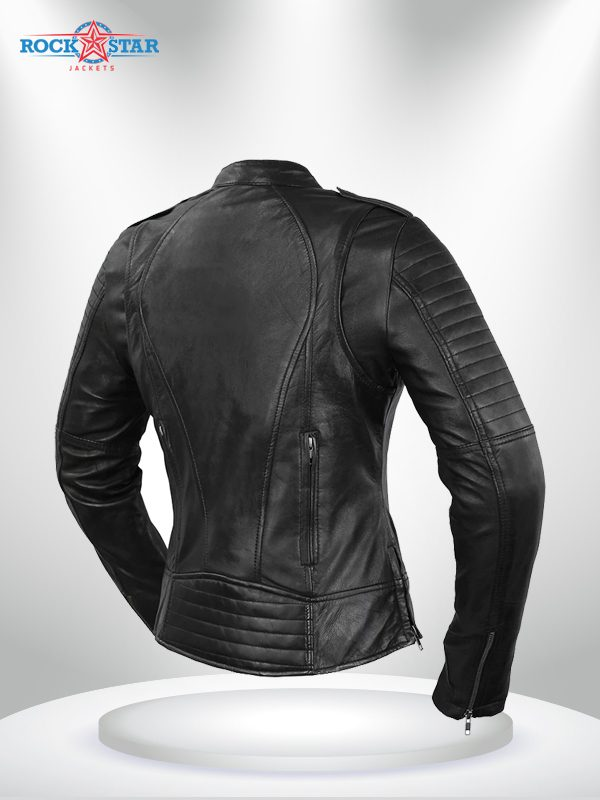 Biker Rockstar Women's Quilted Sleeve Black Leather Jacke back