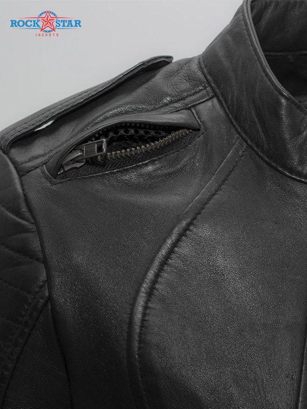Biker Rockstar Women's Quilted Sleeve Black Leather Jacke side