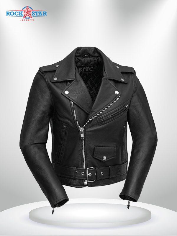 Bikerlicious Rockstar Women's Lapel Collar Black Motorcycle Leather Jacke
