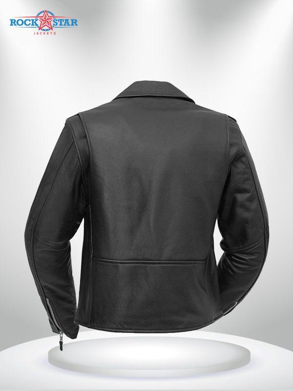 Bikerlicious Rockstar Women's Lapel Collar Black Motorcycle Leather Jacke back